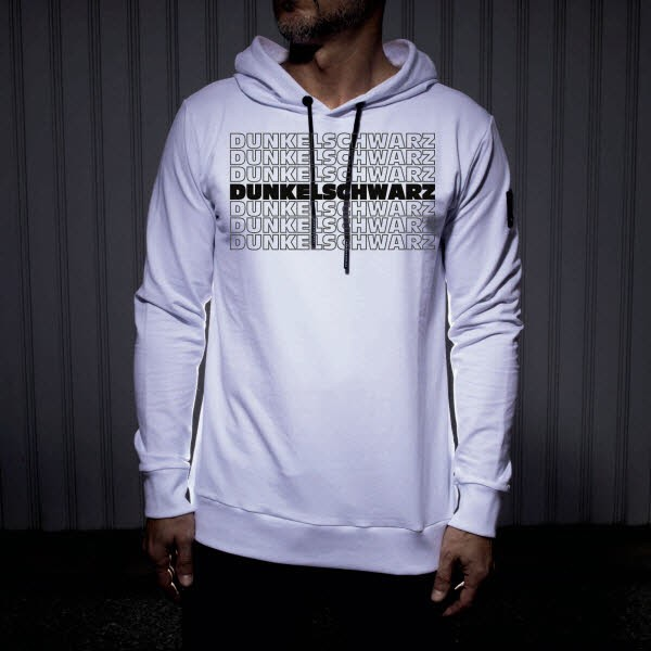 Dunkelschwarz Hoody DS-3 OUTLINES white