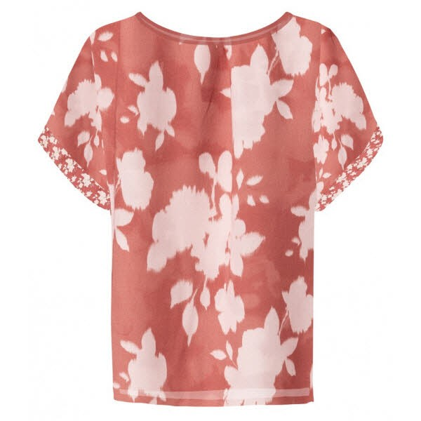 yaya Satin top with floral print - rouge