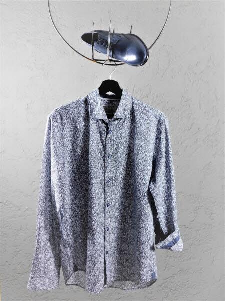 Herrenhemd Muster blau - Bild 1