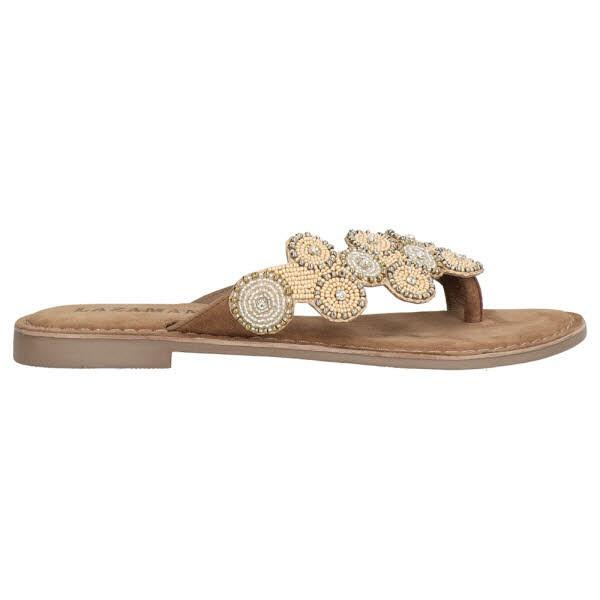 Lazamani Zehenpantoffel Perlen beige - Bild 1