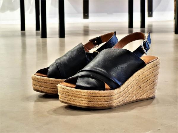 Sandale Bastkeil schwarz - Bild 1